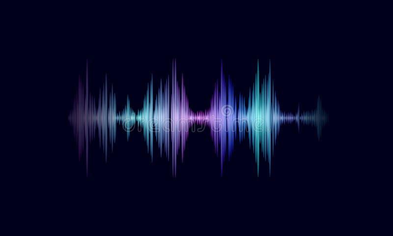 Rozsądna oscyluje falowa kolorowa rozjarzona muzyka Rozpoznanie głosu technologii pomocniczy waveform Audio wyrównywacz cyfrowy ilustracja wektor
