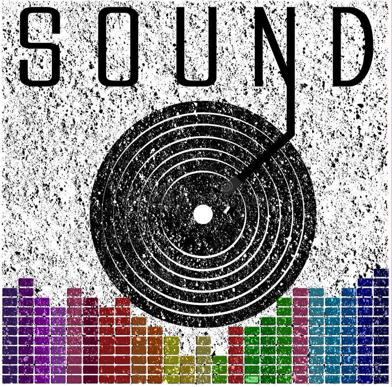 Rozsądny muzyczny graficzny plakata t koszulowy graficzny projekt royalty ilustracja