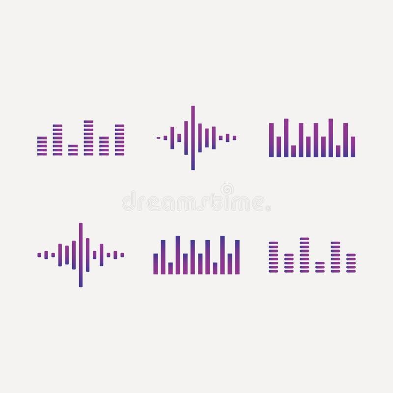 Rozs?dne fala ustawiaj?, audio cyfrowa wyr?wnywacz technologia, muzykalnego pulsu wektorowe ilustracje na bia?ym tle ilustracja wektor