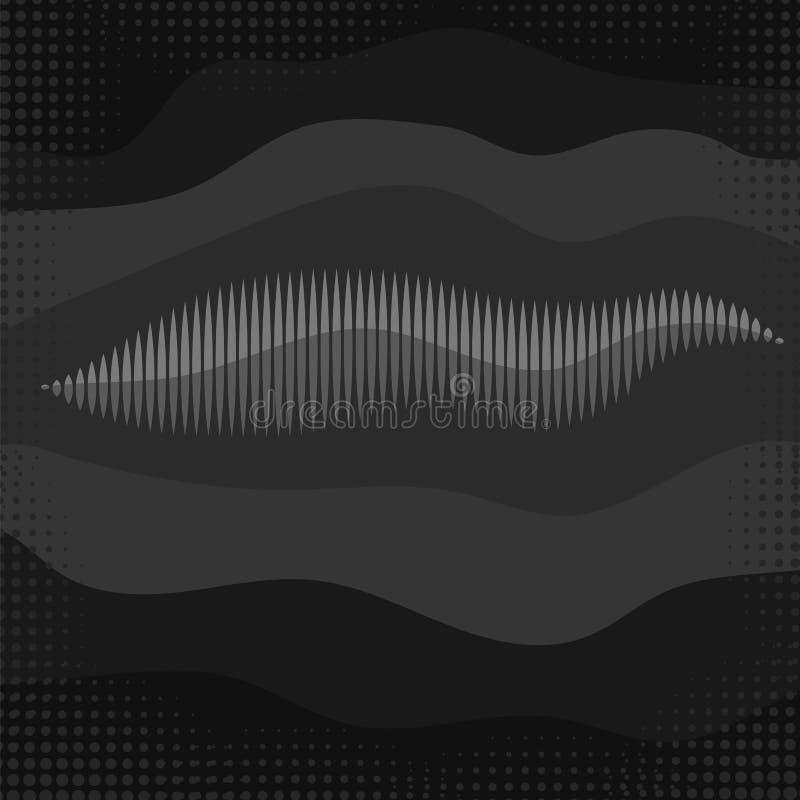 Rozs?dnej fala ikona Ekran wyr?wnywacz Muzykalny wibracja wykres Radiowej fala amplituda ilustracja wektor