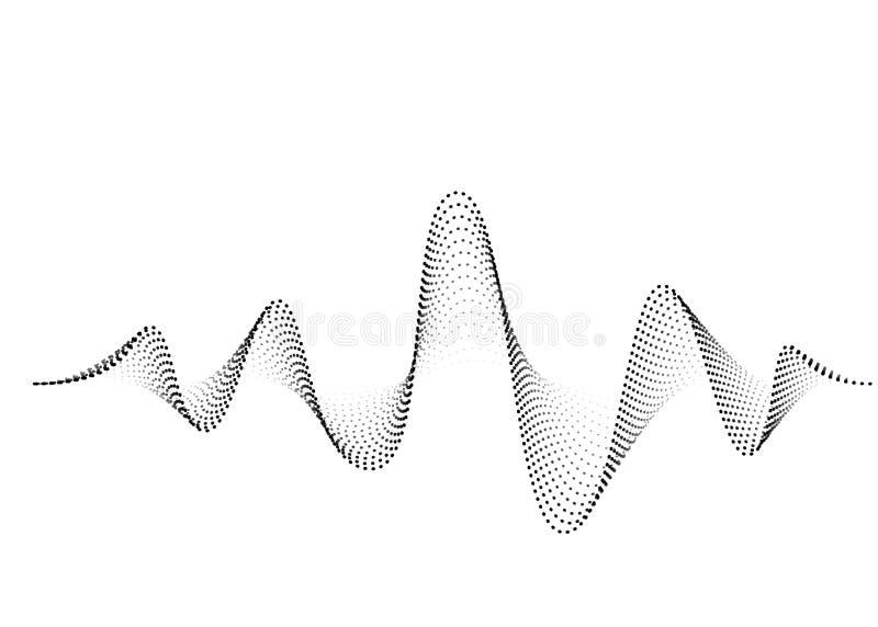 Rozs?dny falowego wektoru t?o Audio muzyczny soundwave G?os cz?stotliwo?ci formy ilustracja Wibracja rytmy w waveform ilustracja wektor