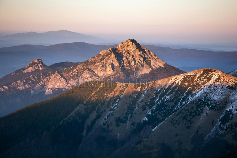 Rozsutec Moutain in Sunset, Mala Fatra Mountain Range, Slovakia stock photo