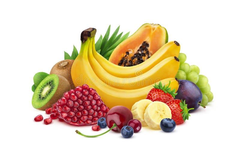 Rozsypisko świeże egzotyczne owoc i jagody odizolowywający na białym tle, różne tropikalne owoc inkasowe zdjęcie stock