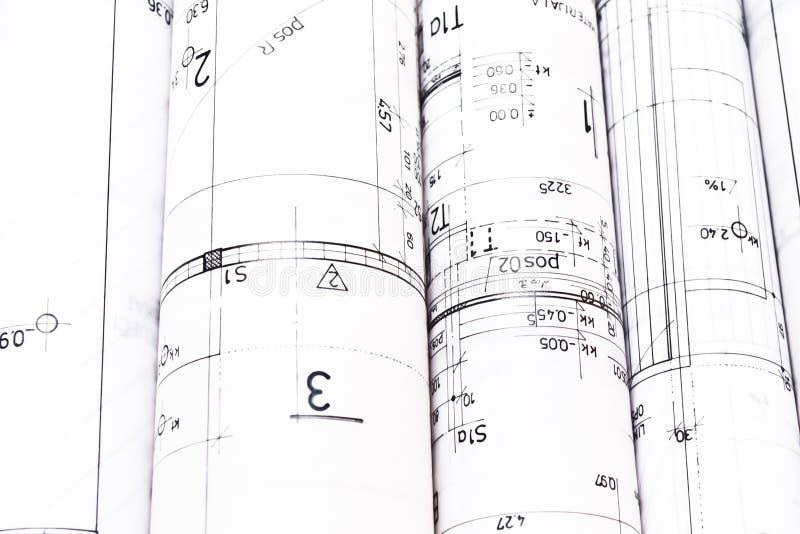 Rozsypisko architekta projekta i projekta rysunki zdjęcie stock