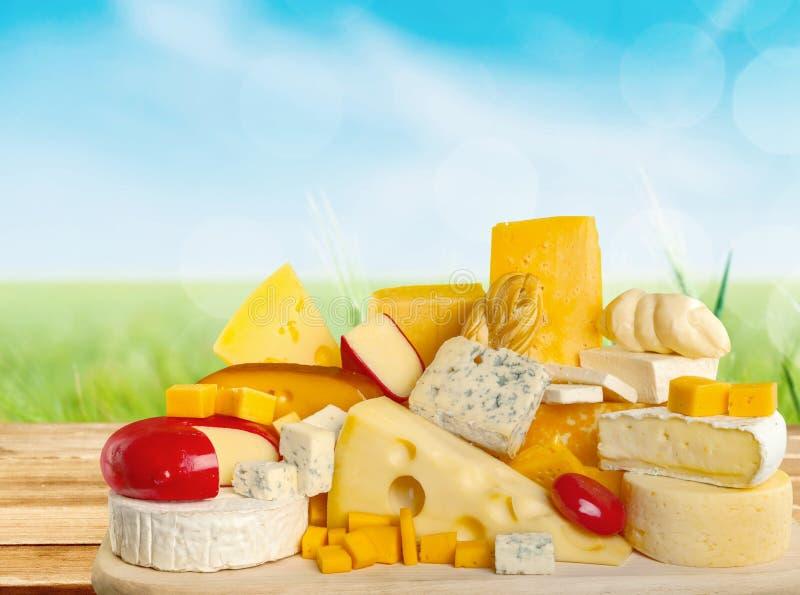 Rozsypisko asortowany ser z pikantność na świetle zdjęcie royalty free