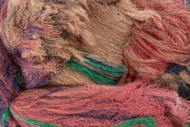 Rozsypisko kolorowe sieci rybackie fotografia royalty free