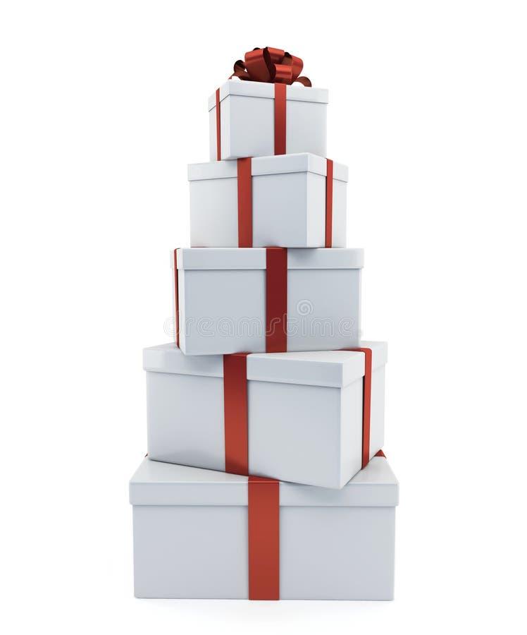Rozsypisko prezenty biały kolor ilustracja wektor