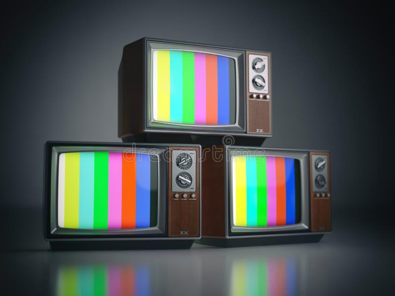 Rozsypisko retro telewizory bez sygnału Komunikacja, środki i t, royalty ilustracja
