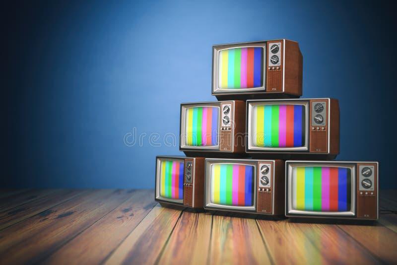 Rozsypisko retro telewizory bez sygnału Komunikacja, środki i t, ilustracja wektor