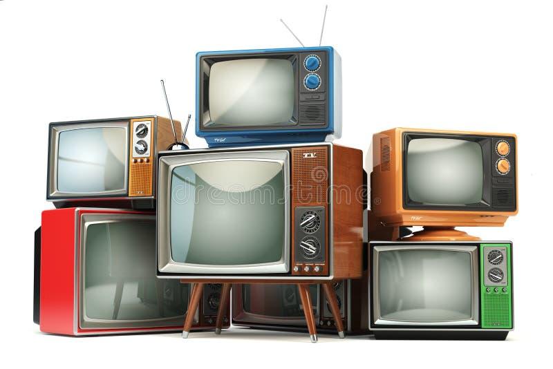 Rozsypisko retro telewizory na białym tle Communicatio ilustracja wektor
