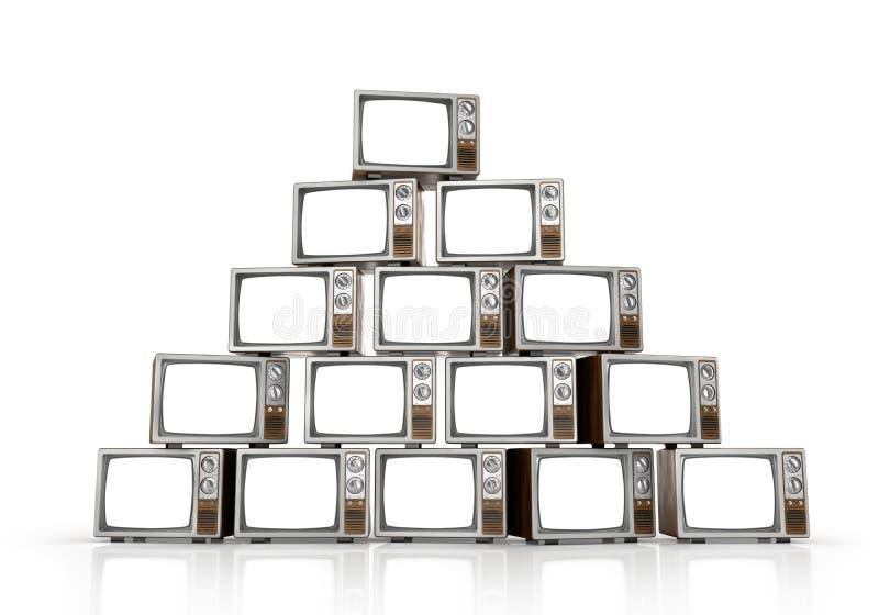 Rozsypisko rocznik tv na biały tle royalty ilustracja