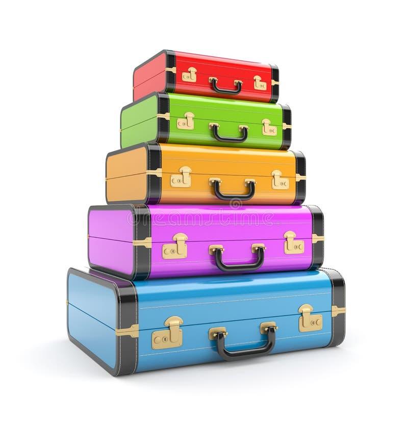 Rozsypisko rocznik walizki ilustracja wektor