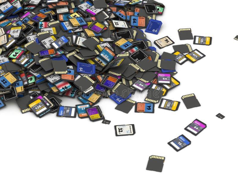 Rozsypisko SD i microSD pamięci karty royalty ilustracja