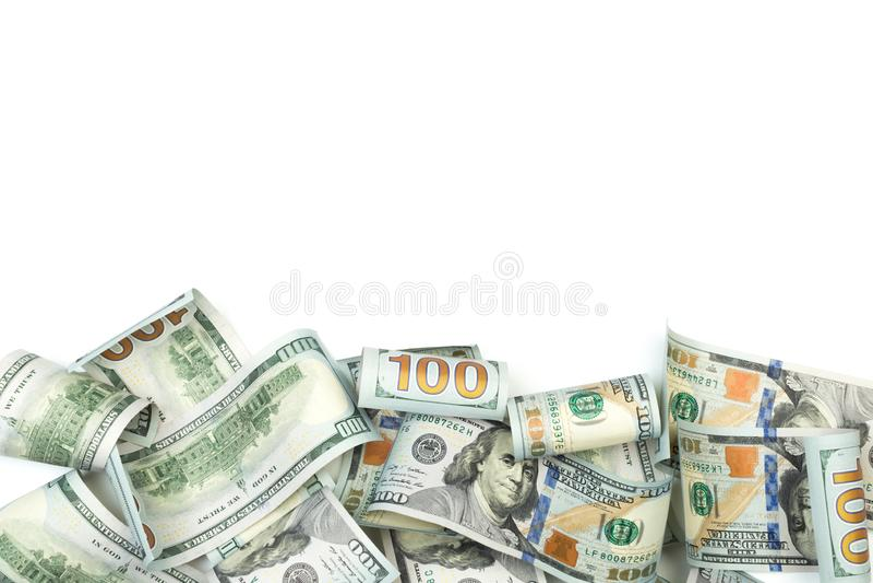 Rozsypisko sto Dolarowych rachunków odizolowywających na białym tle z miejscem dla twój teksta - wizerunek zdjęcie royalty free