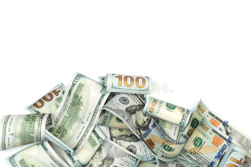 Rozsypisko sto Dolarowych rachunków odizolowywających na białym tle z miejscem dla twój teksta - wizerunek fotografia royalty free