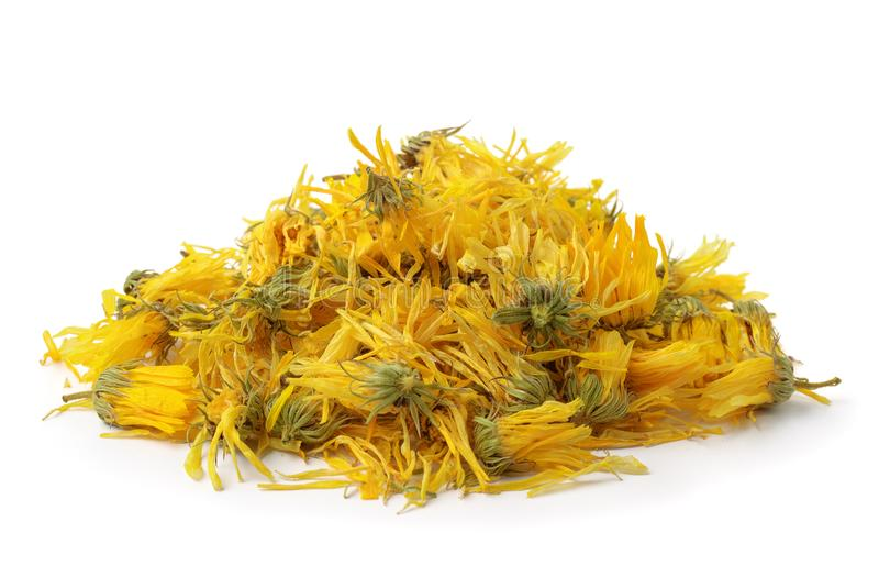 Rozsypisko wysuszeni calendula kwiaty zdjęcia royalty free