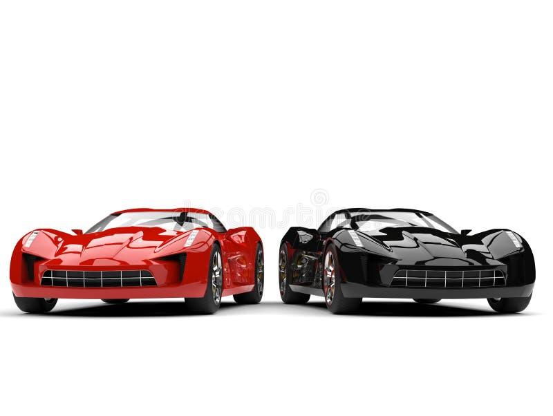Rozszalała czerwień i midnight czarni super sportów samochody obok - strona - strona - royalty ilustracja