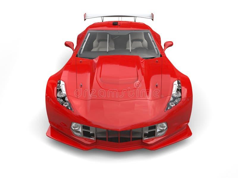 Rozszalały czerwony wytrzymałość samochód wyścigowy - frontowy widok ilustracja wektor