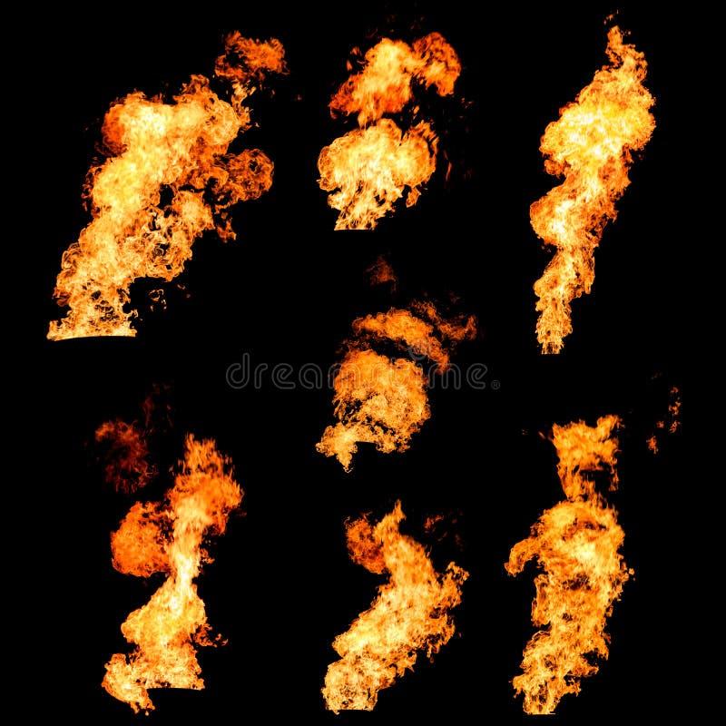 Rozszalali pożarniczy wystrzykania płomień tekstury fotografia ustawiająca na czerni zdjęcie stock