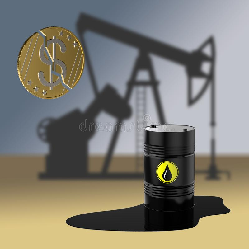 Rozszczepia walutę dolar Waluty deprecjacja Produkcja ropy naftowej ilustracja 3 d ilustracja wektor