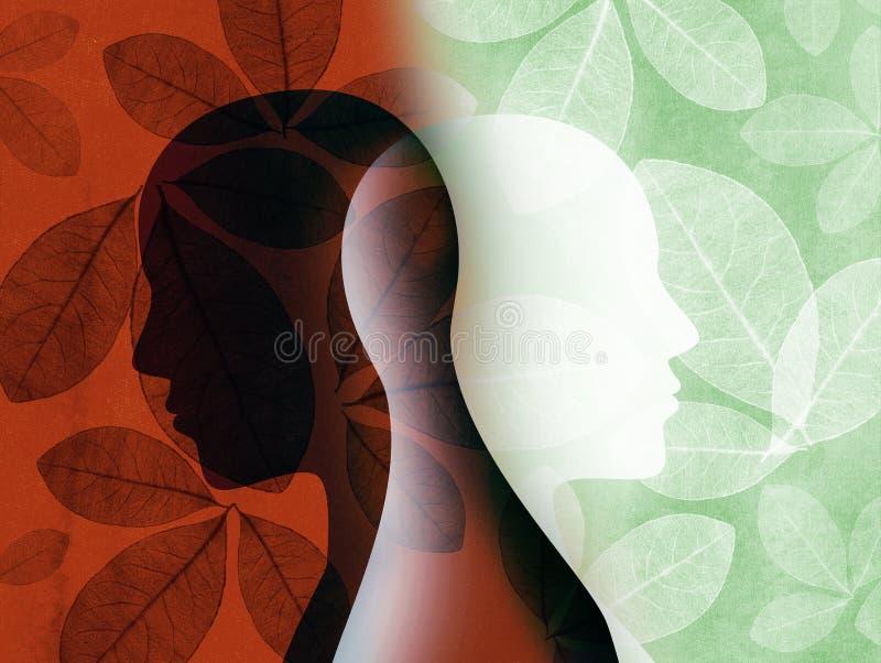 Rozszczepiona osobowość Dwubiegunowego nieładu umysł umysłowy Trybowy nieład Podwójny osobowości pojęcie Sylwetka na tle z liśćmi ilustracja wektor
