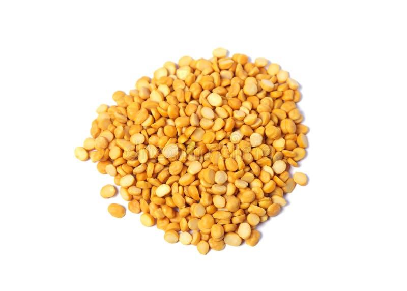 Rozszczepiony Chickpea Także Zna jako Chana Dal, Toor Dal, rozsypisko kolorów żółtych rozszczepeni chickpeas, Surowa soczewica, o obraz stock