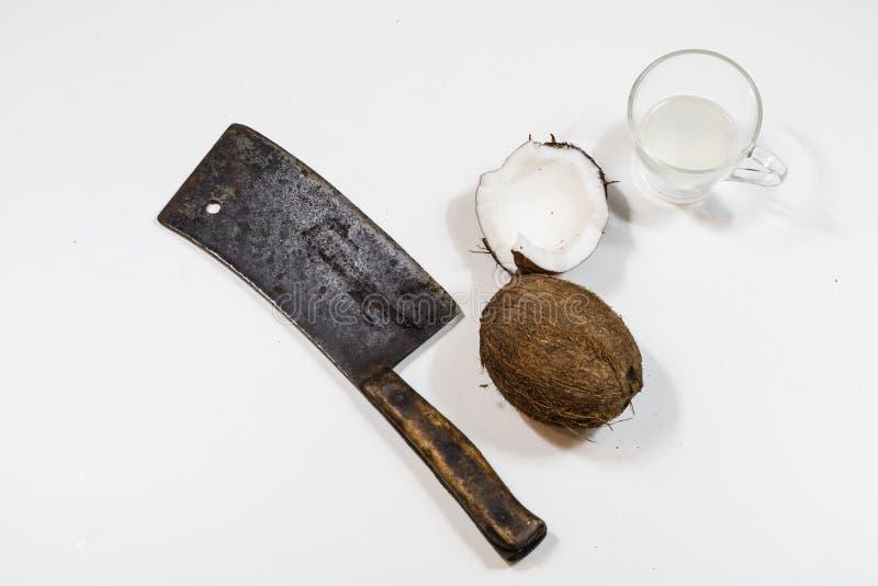 Rozszczepiony koks, kokosowy sok, kokosowy mleko zdjęcie royalty free