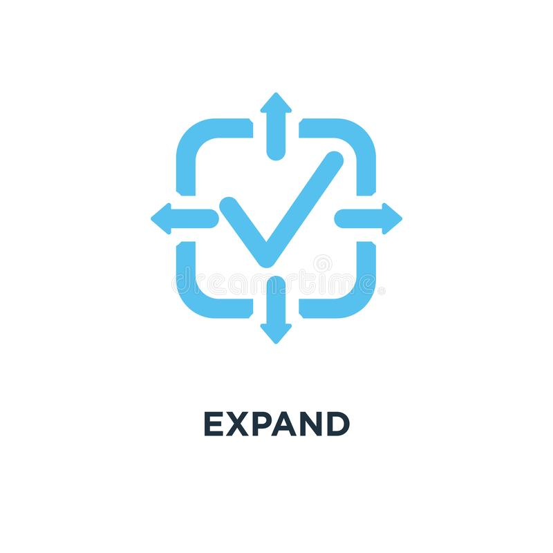 Rozszerza ikonę przedłużyć pojęcie symbolu projekt, powiększa wektorowego illust, ilustracji