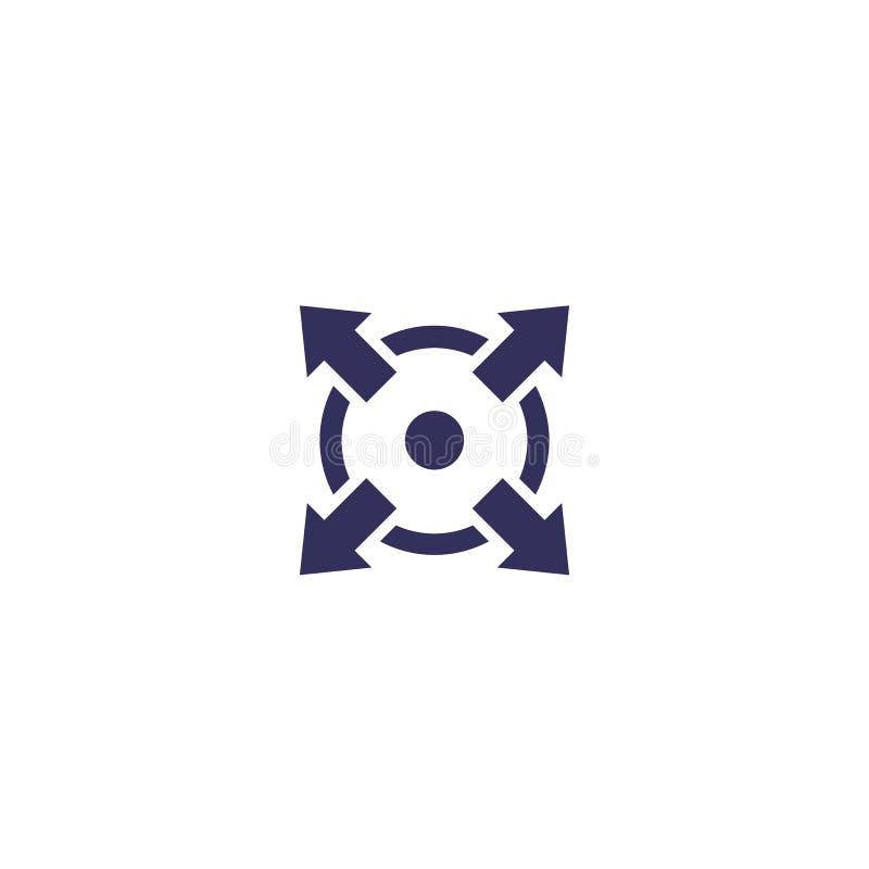 Rozszerza, przedłużyć, wektorową ikonę ilustracja wektor