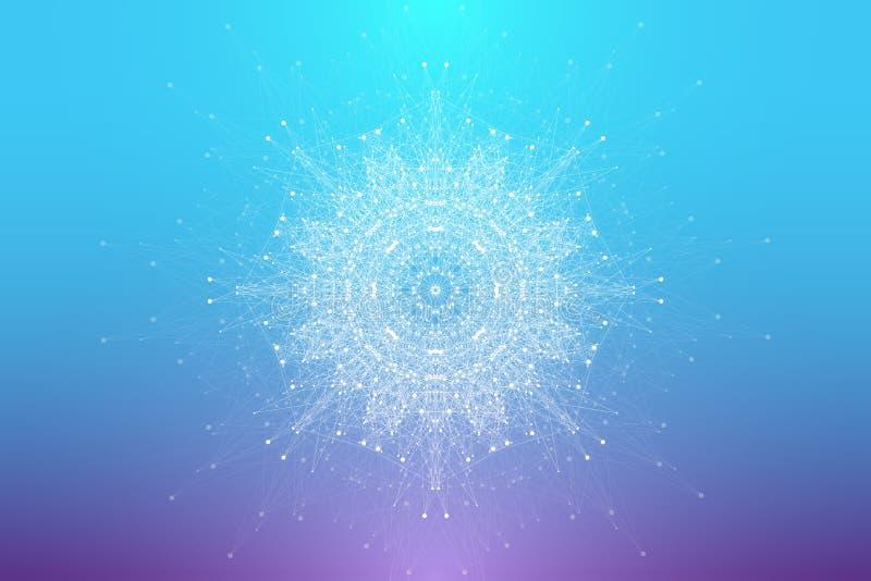 Rozwój życia Tło wybuchu krzywej z połączonymi liniami i kropkami, przepływ fali Wizualizacja kwantowa ilustracja wektor