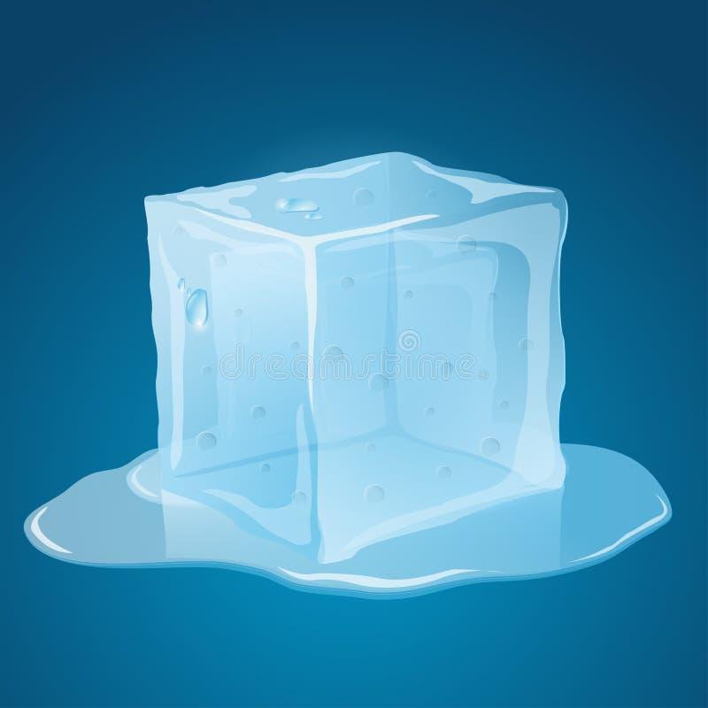 Roztapiająca kostka lodu ilustracja wektor