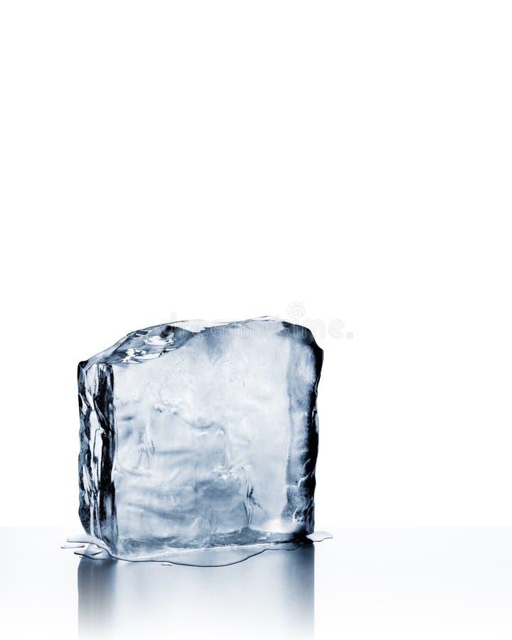 Roztapiający zimny błękitny lodowy blok z odbiciem na bielu zdjęcia royalty free