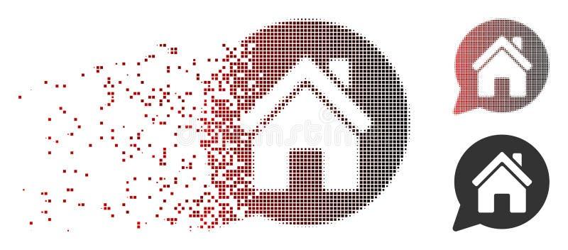 Roztrzaskana piksla Halftone domu wzmianki ikona ilustracji