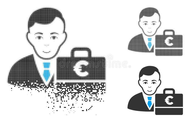 Roztrzaskanego Kropkowanego Halftone Accounter Euro ikona z twarzą royalty ilustracja