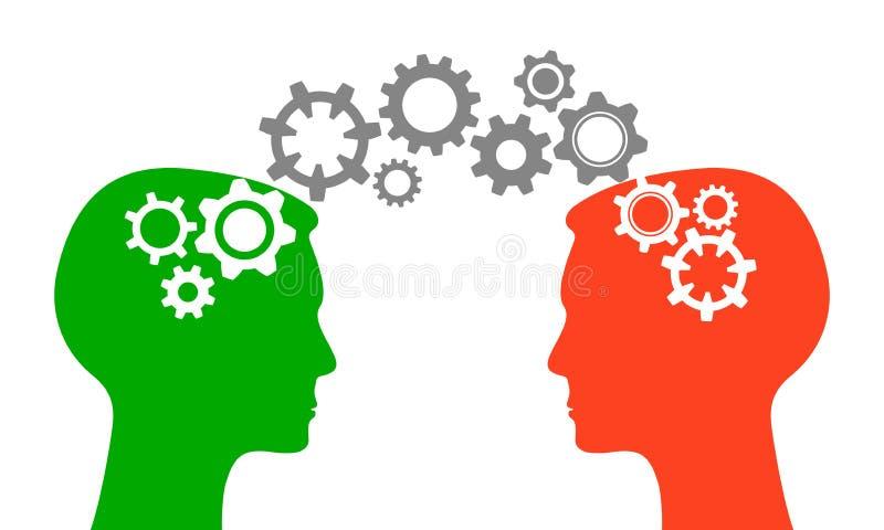 Rozumiejący, wymienia informację, komunikacje - wektor ilustracja wektor
