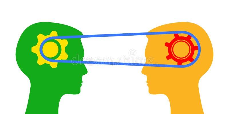 Rozumiejący, wymienia informację - wektor ilustracja wektor