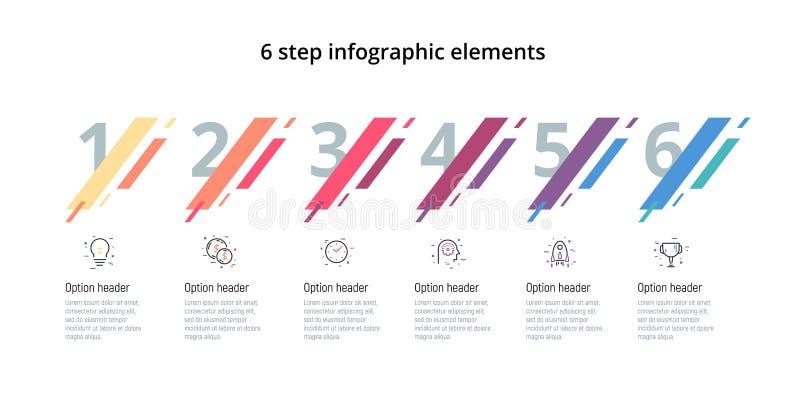 Rozwój biznesu mapa infographic z 6 krokami Nowożytni korporacyjni obieg grafiki elementy Firmy flowchart prezentacji obruszenie ilustracja wektor