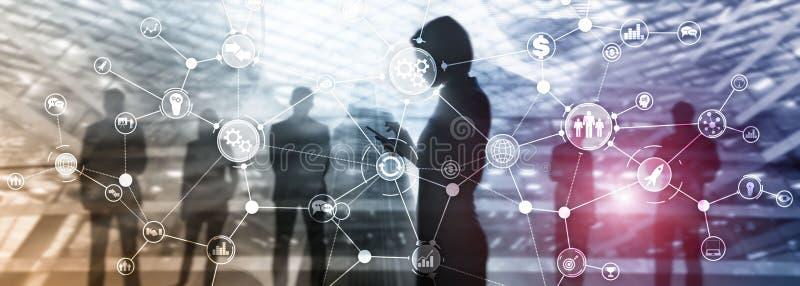 Rozwój biznesu struktury obieg diagrama automatyzacji innowacji przemysłowy pojęcie na wirtualnym ekranie mieszał środki zdjęcie stock