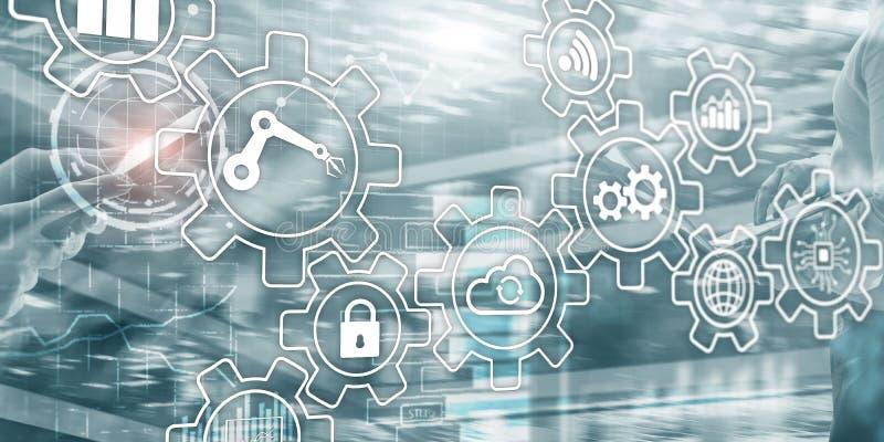 Rozwój biznesu automatyzacji Mądrze przemysłu Sztuczna inteligencja Przekładnia mechanizmu mieszani środki obrazy stock
