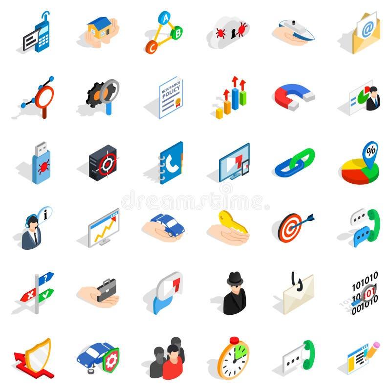 Rozwój biznesu ikony ustawiać, isometric styl ilustracji