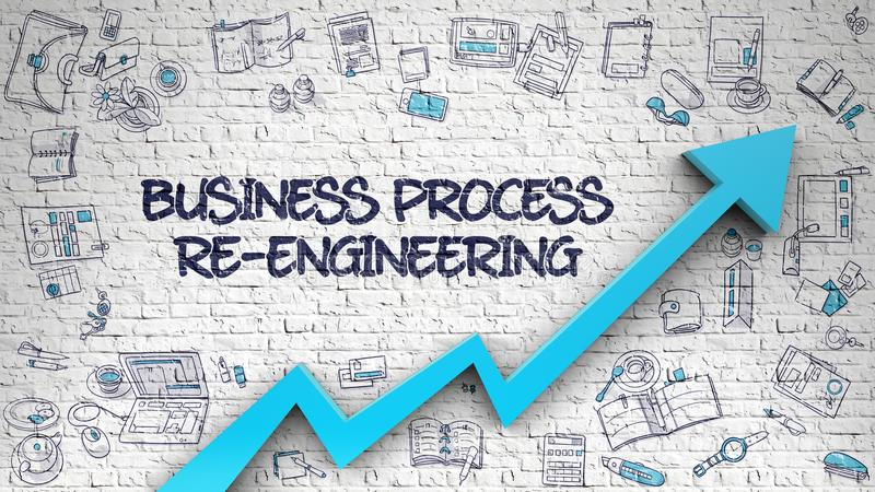 Rozwój Biznesu inżynieria Rysująca na biel ścianie 3d ilustracji