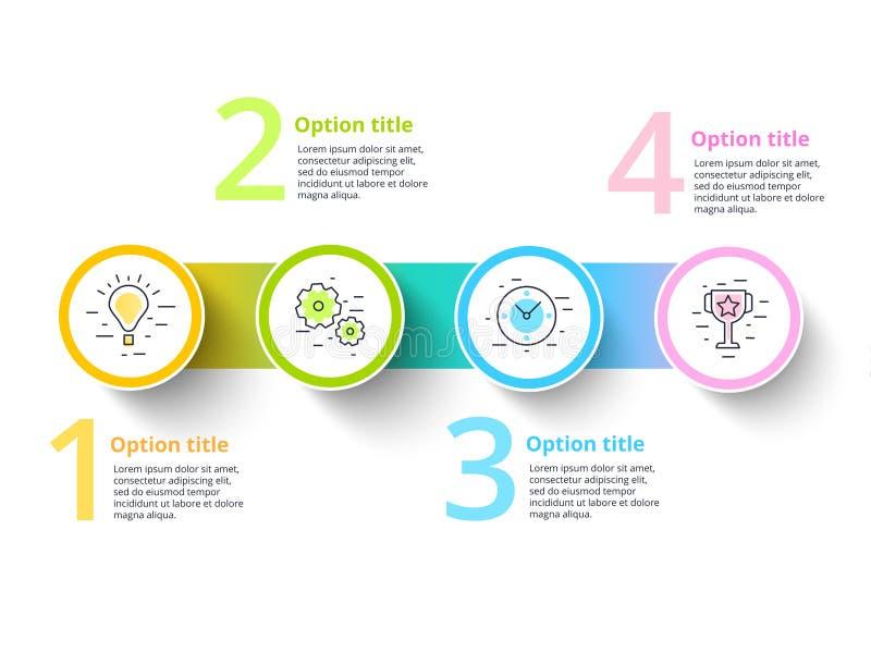 Rozwój biznesu mapy infographics z 4 kroków segmentami Circul ilustracji