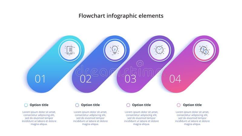 Rozwój biznesu mapy infographics z 4 kroków segmentami Circul ilustracja wektor
