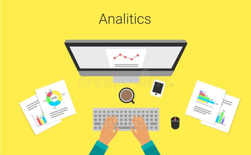 Rozwój biznesu na monitoru raportu wykresie Analityk, s praca Analytical mapy i wykresy również zwrócić corel ilustracji wektora royalty ilustracja