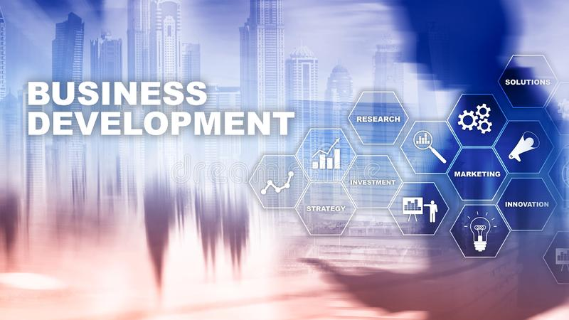 Rozwój Biznesu Początkowe Wzrostowe statystyki Pieniężny plan strategii proces rozwoju grafiki pojęcie royalty ilustracja