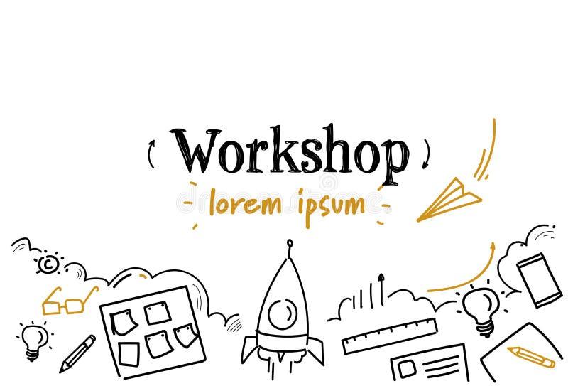 Rozwój biznesu pojęcia nakreślenia warsztatowego doodle kopii horyzontalna odosobniona przestrzeń ilustracja wektor