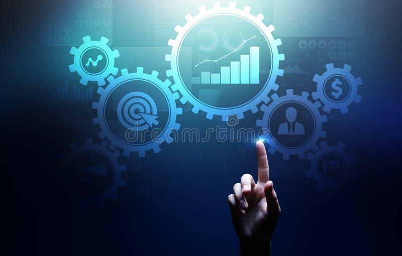 Rozwój biznesu zarządzania automatyzacji obieg, dokumentu uzasadnienie, łączył przekładni cogs z ikonami, technologii pojęcie fotografia royalty free