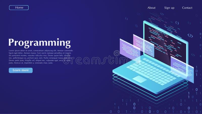 Rozwój i oprogramowanie Pojęcie programowanie, dane processin ilustracja wektor