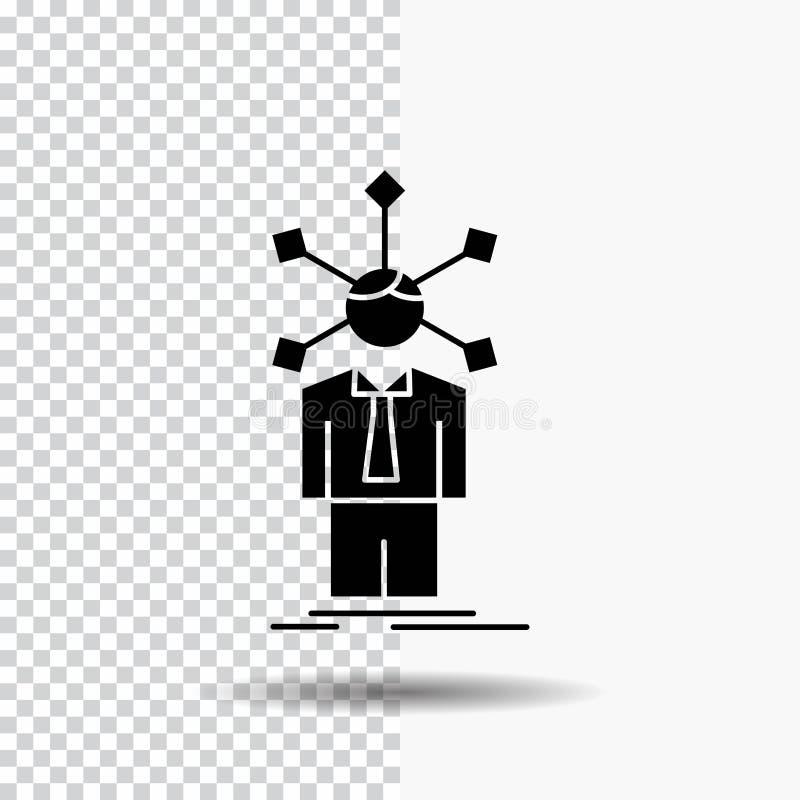 rozwój, istota ludzka, sieć, osobowość, jaźń glifu ikona na Przejrzystym tle Czarna ikona ilustracji