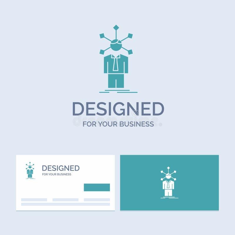 rozwój, istota ludzka, sieć, osobowość, jaźń logo glifu ikony Biznesowy symbol dla twój biznesu Turkusowe wizyt?wki z royalty ilustracja